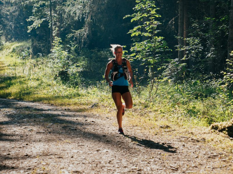 Women on a trail running route