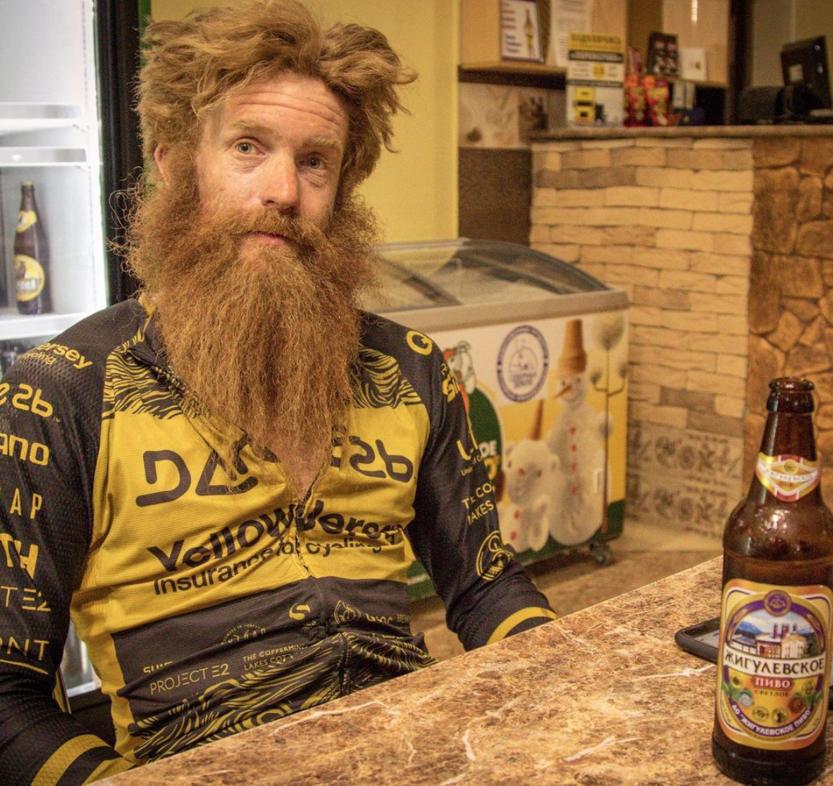 Sean Conway, having a beer