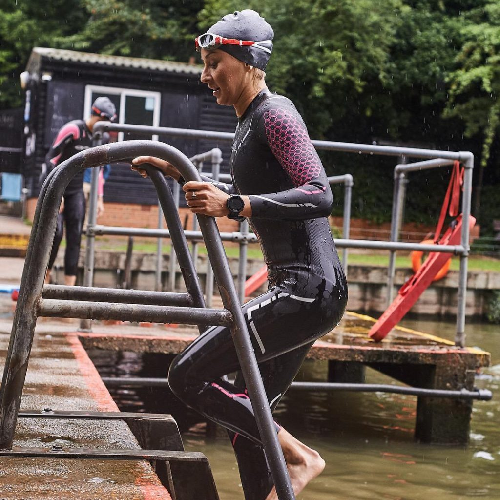 Stephanie Ede training for her first triathlon in an open water pool